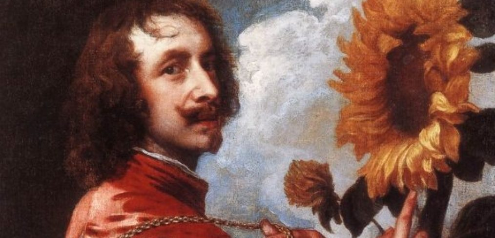 Van Dyck painting of self portrait and a sunflower