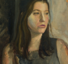 Girl in gray painting for article on how to oil paint in layers