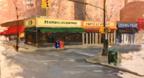 Completed oil painting sketch of starbucks coffee and johnson ave. in riverdale ny