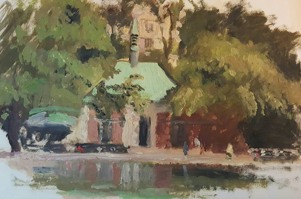 painting of the boat house in central park